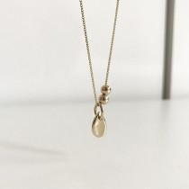 925純銀 不過敏 歐美水滴珠珠短版項鍊  small ki