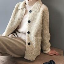 高羊毛外套寬鬆顯瘦毛絨保暖外套 M~L  small ki