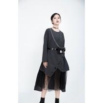 東大門女裝秋冬新款拼接網紗連身裙SMALL KI
