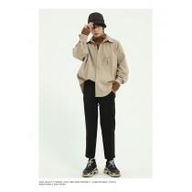 男裝 寬鬆長袖百搭款純色簡約刺繡襯衫 M-XL