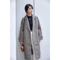 韓國東大門羊絨毛尼外套中長款格子大衣 SMALL KI