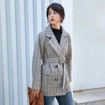 秋冬寒版英倫風復古格紋繫腰西裝毛尼外套 SMALL KI
