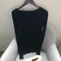秋冬新款V領坑條壓紋內搭針織衣SMALL KI