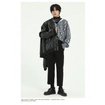 男裝 春復古暗黑蛇紋花紋滿版印花襯衫 M-XL