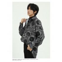 男裝 寬鬆腰果花長袖襯衫民族風花紋襯衫 M-XL