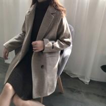 秋冬寬鬆中長款毛尼大衣西裝外套S~XL SMALL KI