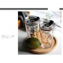 耐熱帶刻度玻璃環保飲料杯 牛奶杯  450ml small ki