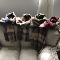 冬季加厚長款保暖仿羊絨百搭格子披肩圍巾  small ki