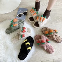 可愛水果系列交叉羔羊毛室內懶人拖鞋S~Lsmall ki