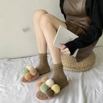 韓版毛球毛絨拖鞋可愛秋冬高羊毛懶人室內拖鞋S~L small ki