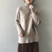 高領壓紋寬鬆慵懶套頭保暖毛衣 small ki