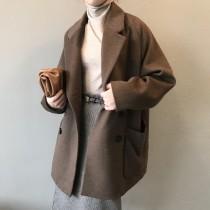 羊毛呢子外套冬季版氣質雙排扣西裝大衣外套 small ki
