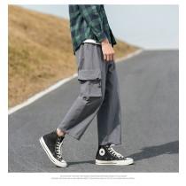 男版寬鬆直筒褲 春季新款  鬆緊帶九分直筒褲  M - 3XL