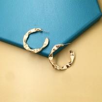 歐美金屬風不規則壓紋C型耳針耳環
