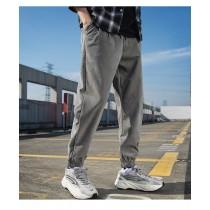 春款工裝休閒寬鬆基本款單色伸縮腰束腳褲  M - 3XL