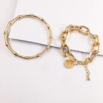 [現貨]歐美金屬風鍊條竹節手環