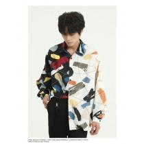 男裝 塗鴉感寬鬆造型襯衫  M-XL