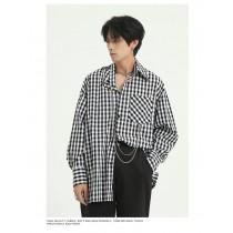 男裝  新款格子襯衫外套附項鏈 M-XL