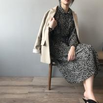 韓版復古小翻領收腰中長版洋裝  M L