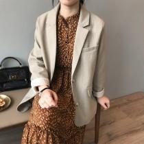 春款韓國chic氣質復古寬鬆休閒時尚小西裝外套  M L