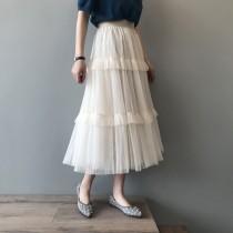 仙女氣質網紗荷葉邊蛋糕網紗裙