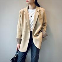 韓版撞色袖裡格紋雙排扣西裝外套  M L