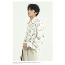男裝 韓版寬鬆花襯衫  M-XL