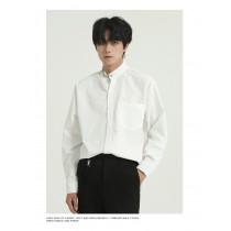 男裝 韓版純色寬鬆正式感配件襯衫 M-XL