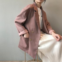 職人係春裝韓版甜美修身中長版翻領西裝外套  M  -  L
