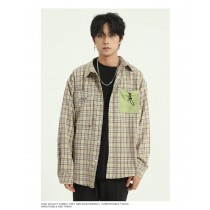 男裝 韓版寬鬆春季長袖格子撞色襯衫  M-XL