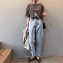 韓版簡約寬鬆九分牛仔褲  (商品不含皮帶) S-XL