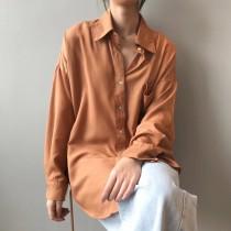 春季韓版簡約風格翻領單排釦襯衫  M L