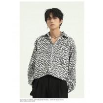 男裝春季新款豹紋襯衫 復古風格 M-XL