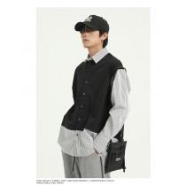 男裝 復古經典百搭假兩件襯衫  M-XL