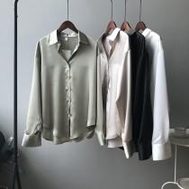 春款韓版淨色緞面氣質襯衫  M L
