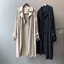 春季薄款氣質寬鬆韓版風衣外套 M - L