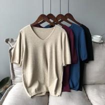 春季柔軟V領簡約套頭五分袖針織衫