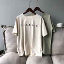 韓版短袖圓領字母刺繡T