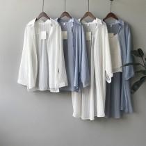 韓版防曬長袖薄款寬鬆百搭空調襯衫  M L
