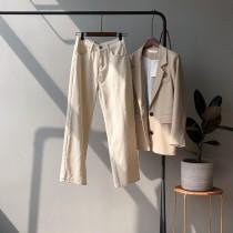 韓版高腰直筒闊腿牛仔褲 S - XL