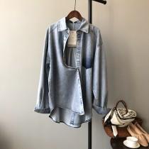 韓版牛仔寬鬆版長袖襯衫