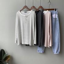 韓版寬鬆顯瘦長袖細條紋T