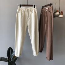 韓版淺色氣質水洗直筒顯瘦休閒牛仔褲  S - XL