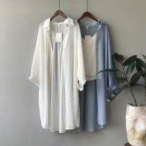 韓版防曬長袖薄款寬鬆百搭空調襯衫 長版  M L