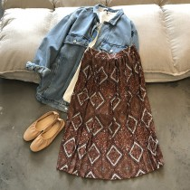 百折幾何寬鬆顯瘦大裙襬高腰半身裙