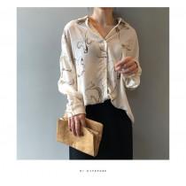 春季韓版設計感小眾復古襯衫 M L