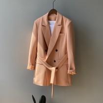 韓版chic寬鬆腰帶收腰顯瘦西裝外套 M L