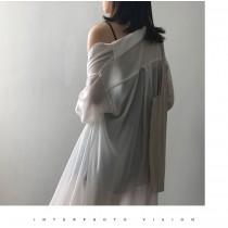 夏季中長版寬鬆薄長袖襯衫 M L