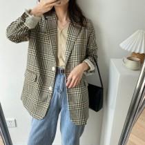 嚴選2020自製格紋寬鬆版型西裝外套