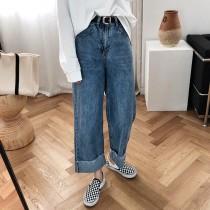 高腰直筒翻邊水洗寬褲 S - XL